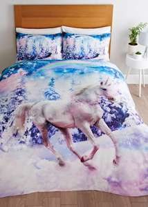 Kids Woodland Unicorn Duvet Cover (Double) Free click and Collect £9 @ Matalan