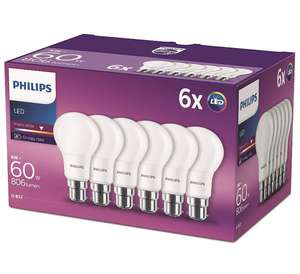 Philips LED B22 Frosted Light Bulbs, 8 W (60 W) - Warm White, Pack of 6 - £11.48 (Prime) / £15.97 (non Prime) at Amazon