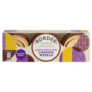 Border Biscuits Light & Chocolatey Viennese Whirls 150g x 12 £2.29 (Prime) / £6.78 (non Prime) at Amazon