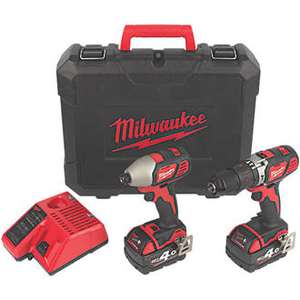 Milwaukee M18 18V 4.0Ah Combi Drill & Impact Driver twin pack - £199.99 @ Screwfix with free Click & Collect