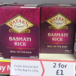 2 x 500g Boxes of Patak's Basmati Boil in the Bag Rice. (8 x 125g bags) £1 Heron Foods Abbey Hulton
