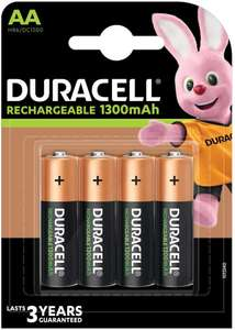 Duracell Recharge Plus Type AA Batteries 1300 mAh, Pack of 4 now £4.99 (Prime) + £9.48 (non Prime) at Amazon