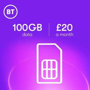 BT Mobile SIM Only 100GB - £25 a month / £20 p/m if you have BT Broadband with £80 MasterCard Reward Card