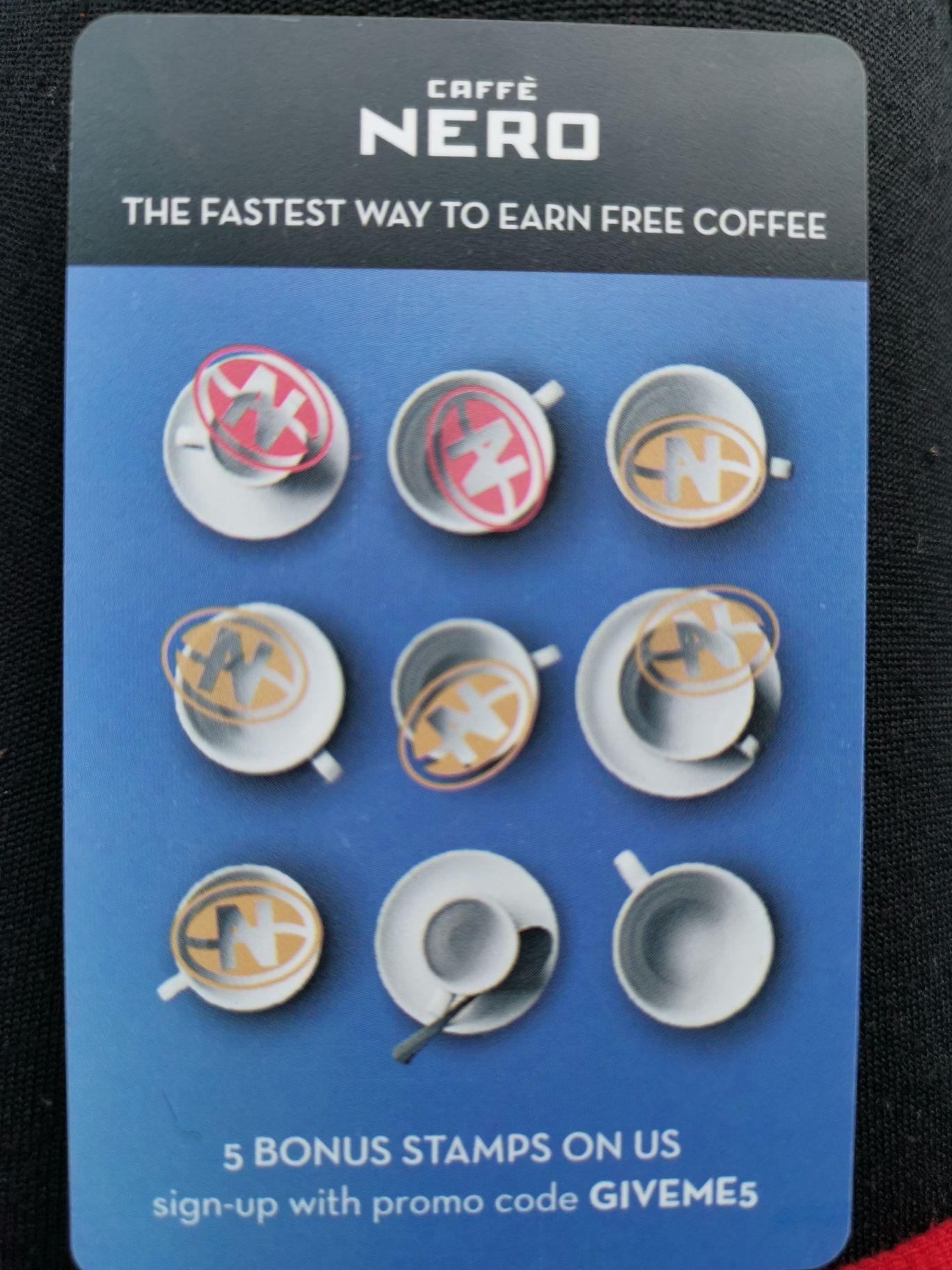 Caffè Nero 5 bonus stamps with promo code, new app/customer