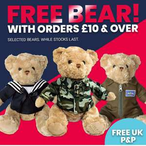 Free Bear & Free Delivery with orders £10 & over @ Help for the Heroes.