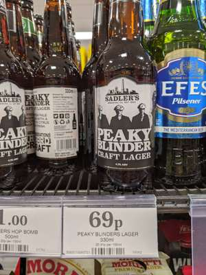 Peaky Blinders Craft lager 330ml 69p at Home Bargains (Gosport) should be national
