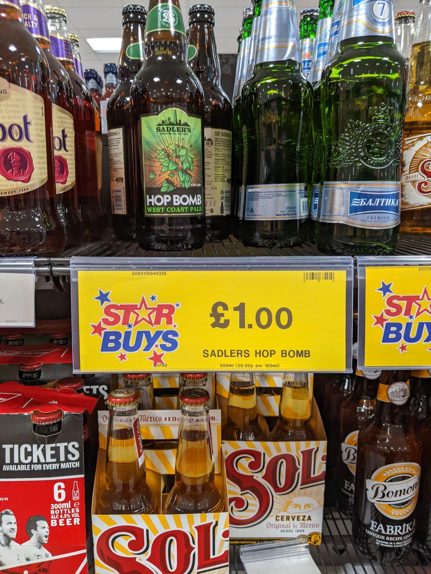 Sadlers Hopbomb 500ml £1 at Home Bargains (Gosport) should be national