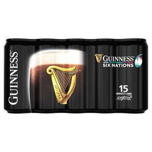 15 cans of Guinness Draught with a free pint glass for £12 @ Morrisons