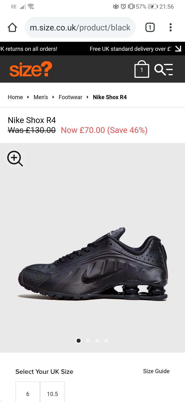 Nike Shox R4 Black - £70 @ Size?