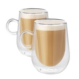 Set of 2 Mason & White 350ml Double Walled Coffee Glasses With Handles - £9.49 + Free Delivery Using Code @ Roov