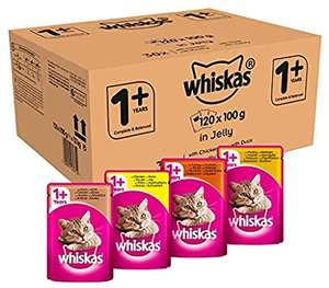 120 pack Whiskas 1+ Wet Cat Food Pouches for Adult Cats, Mixed Selection in Jelly, 100 g £25.49 (£19.12 with subscribe and save) @ Amazon
