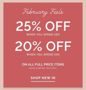 25% off £60 spend and 20% off £40 spend on full priced items at Cath Kidson