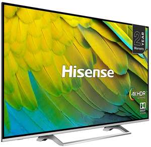 """Hisense H55B7500UK (2019) LED HDR 4K Ultra HD Smart TV 55"""" with Freeview Play Black/Silver + 5 Year Warranty - £379 @ John Lewis & Partners"""