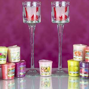 2x Etched Hearts Stem Glass Votive Candle Holders + 20 Yankee Candle 49g Votives £20 / £19 For New Accounts Using Code @ Yankee Bundles