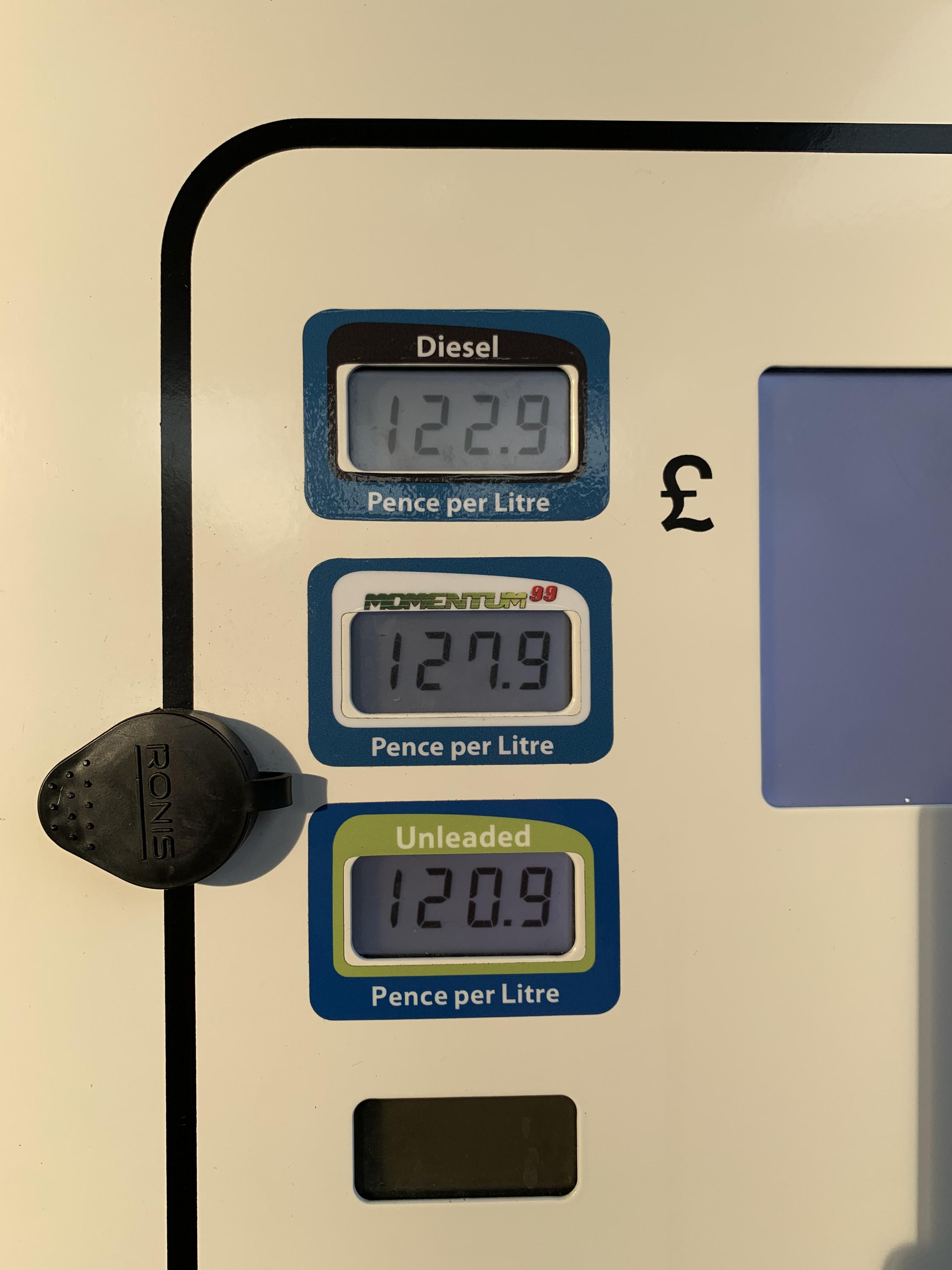 FUEL - Tesco Slough - Unleaded £1.209 / Diesel £1.229