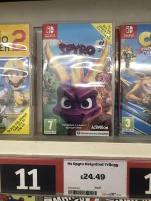 Spyro Reignited Trilogy Nintendo Switch at Sainsbury's instore for £24.49