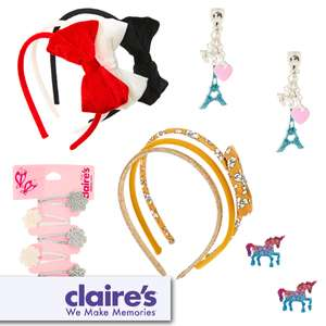 Selected Items On 3 for £5 Mix & Match With Free Click & Collect @ Claire's Accessories