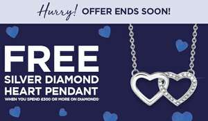 Free silver diamond pendant with orders over £300 @ H Samuel