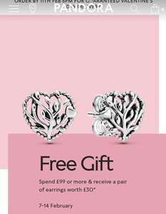 Free Pandora earrings with £99 purchase