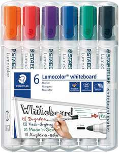 STAEDTLER 351WP6 Lumocolour Whiteboard Marker with Bullet Tip, Multicolor , Pack of 6 £4.28 + £4.49 NP @ Amazon