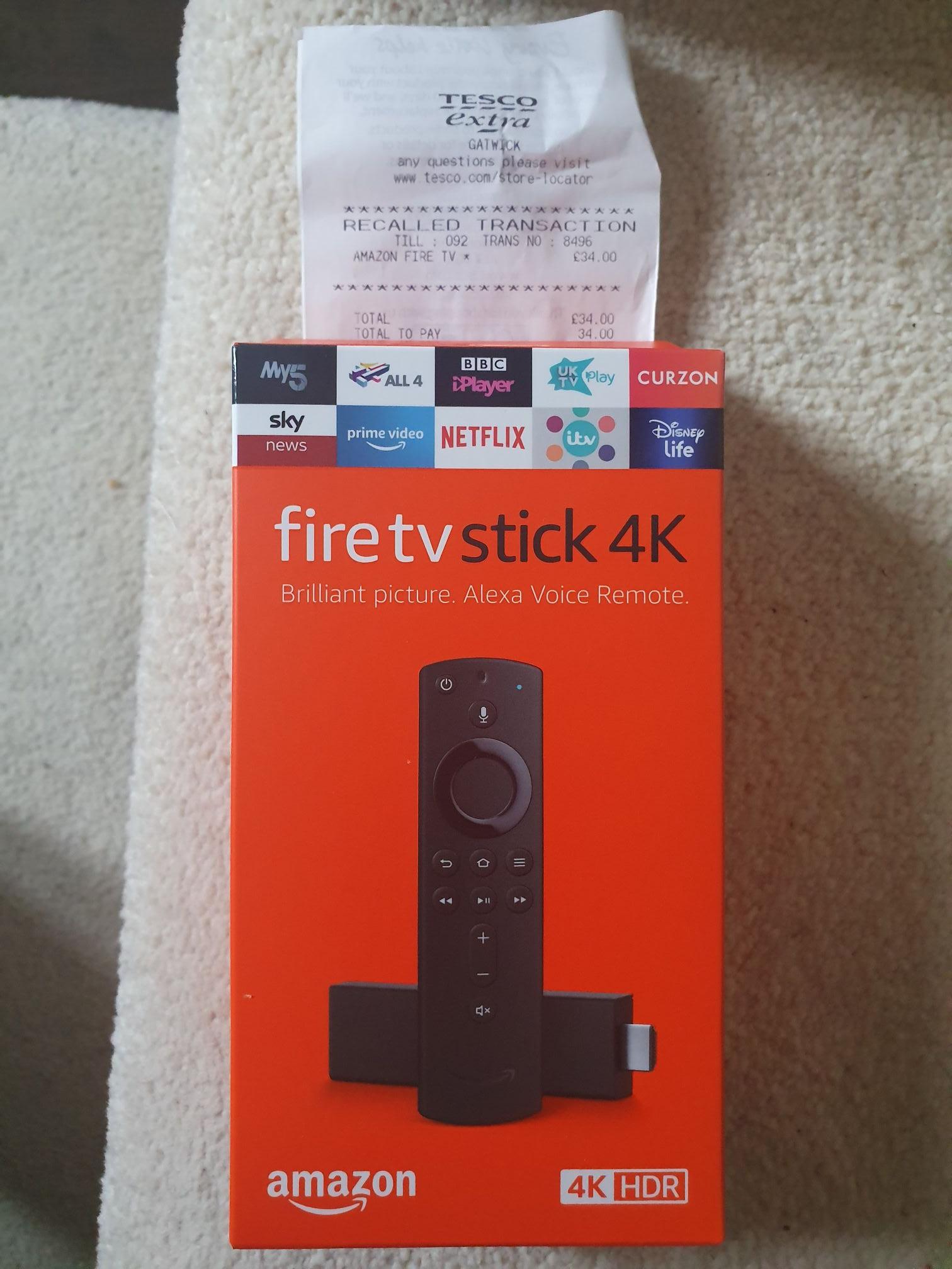 Amazon Fire TV Stick 4K with Alexa voice remote £34 instore @ Tesco Gatwick