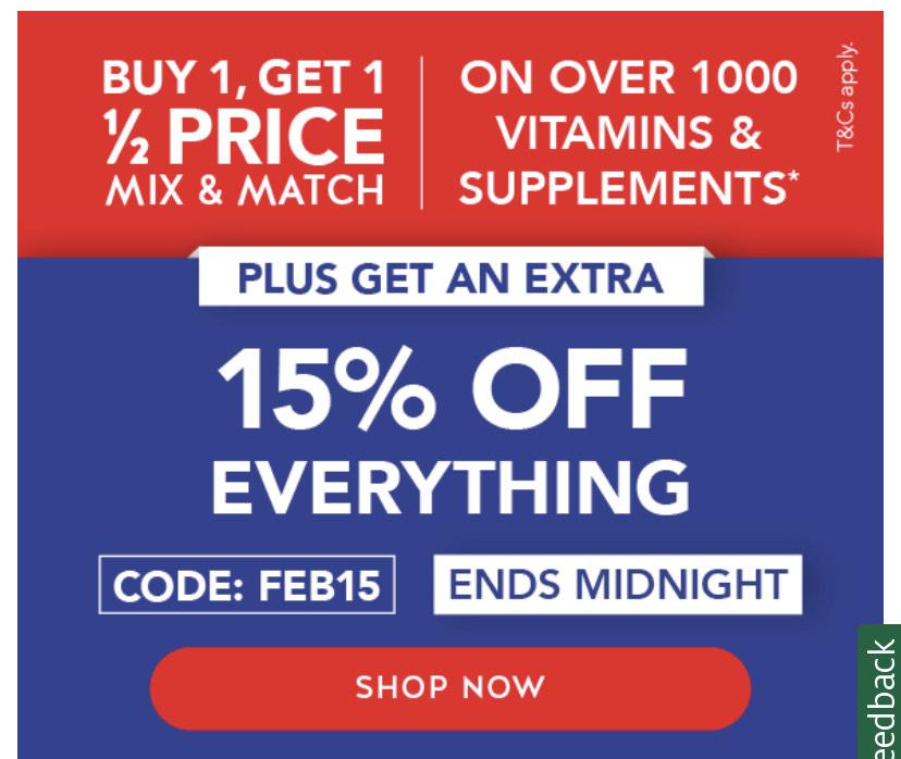 15% off code - Ends Midnight - Holland & Barrett