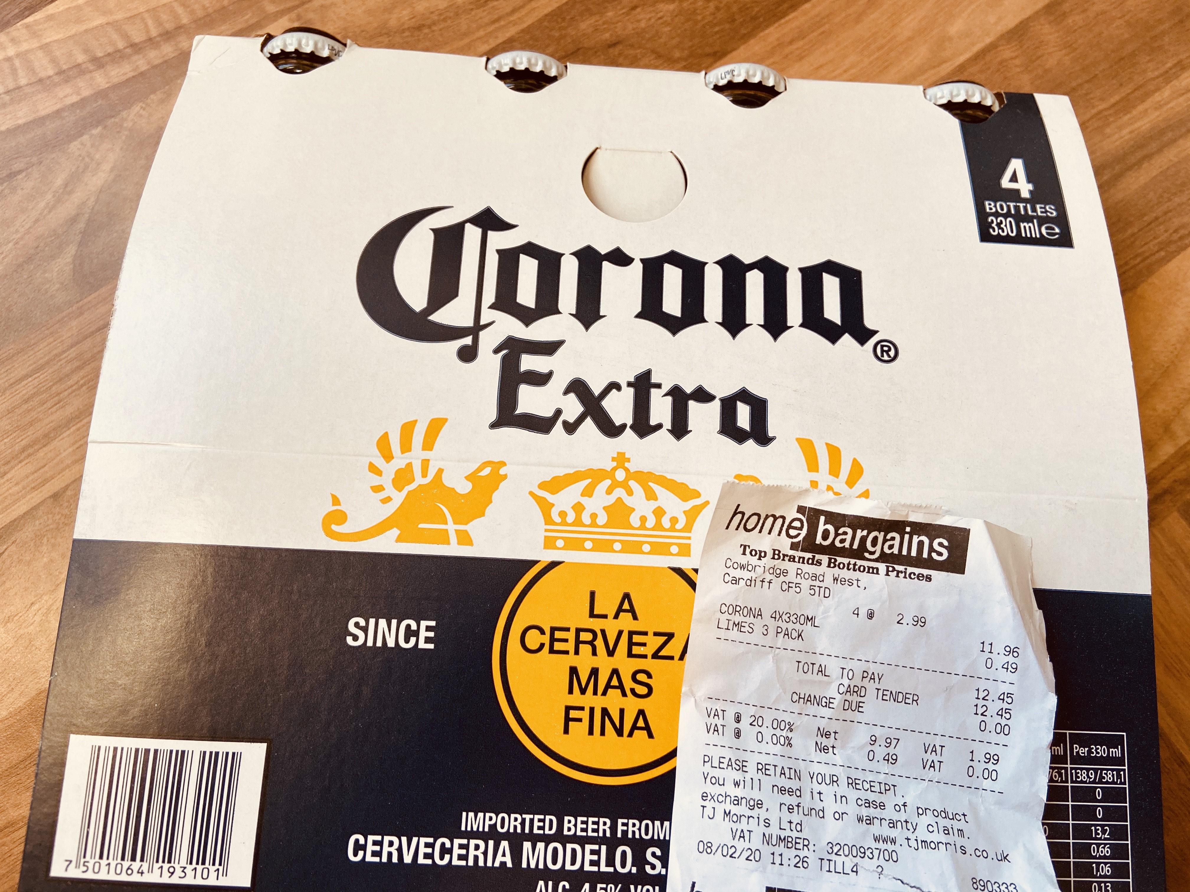 Corona 4 x 330ml = £2.99 @ Home Bargains Cardiff