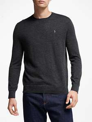 Polo Ralph Lauren Long Sleeve Merino Jumper, Dark Granite Heather £37.50 click & Collect - John Lewis @ Partners