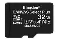 Kingston Canvas Select Plus microSD Card SDCS2/32GB A1,100 MB/s Class 10 (SD Adapter Included) for £3.98 Prime/+ £2.99 Non Prime @ Amazon