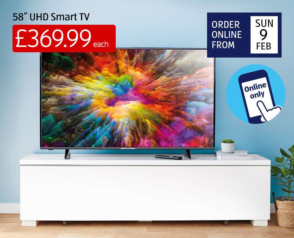 """58"""" Smart 4K UHD Medion TV HDR 3 yr warranty - £369.99 @ Aldi"""