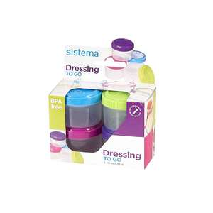 Sistema Dressing Pots To Go Containers -4 x 35 ml at Amazon for £2.50 Prime (£3.49 non Prime)