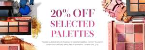 20% off selected palettes at cult beauty