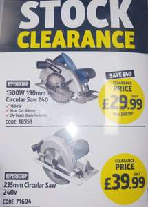 Erbauer 190mm 1500w Circular Saw 240v £29.99 / 235mm 39.99 @ Screwfix Bolton
