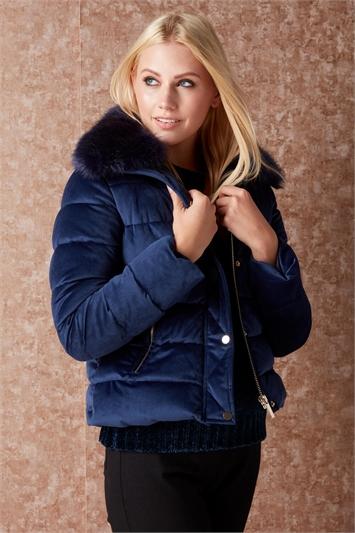 Roman originals midnight blue velour padded coat £20 @ Roman Originals