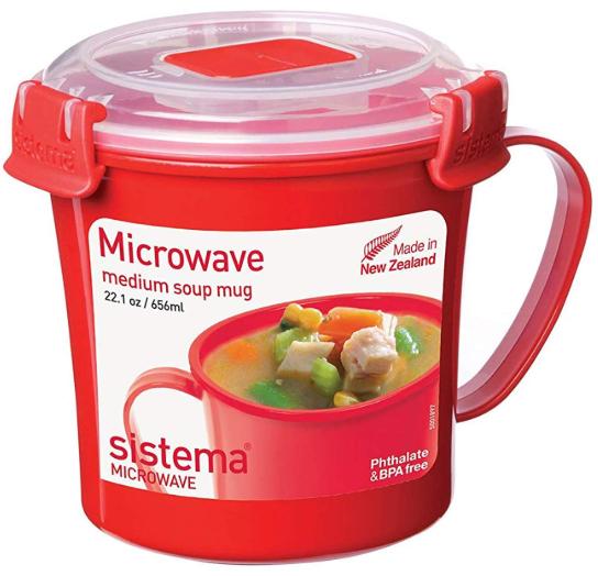 Sistema Microwave Soup Mug, 656 ml - Red/Clear - £3 (Prime) // £7.49 (non prime) @ Amazon