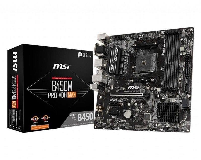 MSI B450M PRO-VDH MAX AM4 mATX Motherboard £65.94 @ Ebuyer