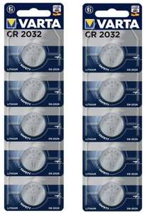 Varta CR2032 Lithium Button Batteries - Pack of 10 £3.67 @ Amazon (+£4.49 Non-prime)