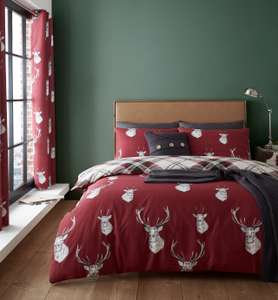 Catherine Lansfield Munro Check Stag Bedding Set Red/Check- Single - £7.70 @ Argos (Free click and collect)