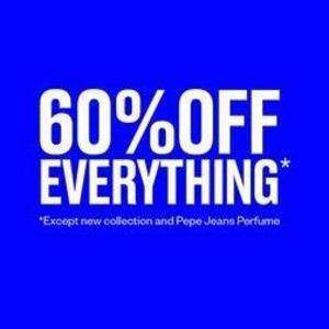 60% off everything from Pepe Jeans (Except new collection and Pepe Jeans Perfume)