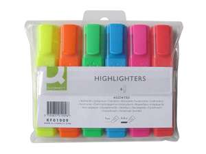 Q-Connect Highlighter Pens Assorted Colours Pack of 6 now £1.90 (Prime) + £4.49 (non Prime) at Amazon