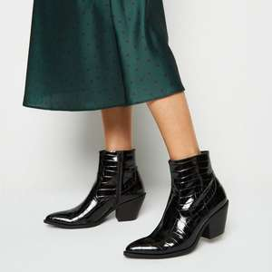 Black Faux Croc Heeled Western Boots (was £29.99) Now £13.00 + £1.99 Click & Collect / Free £19.99+ spend @ New Look