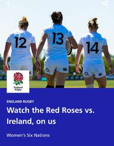FREE England Vs Ireland Women's Six Nations Rugby Tickets @ O2 Priority