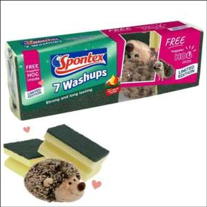 Spontex Washups with Free Hedgehog Toy - Pack of 7 for 90p @ Robert Dyas (Free Click & Collect)