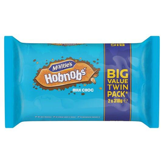 Mcvitie's Milk Chocolate Hobnobs 2X318g £1.69 or Mcvities Dark or Milk Chocolate Digestive Twin 2x316g £1.64 @ Tesco