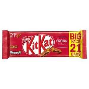 Kit Kat 2 Finger Milk Chocolate Biscuit 21 Pack 436.8G for £2 @ Tesco