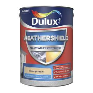 Dulux Weathershield County Cream Textured Matt Masonry paint 5L for £2 @ B&Q (free click and collect)