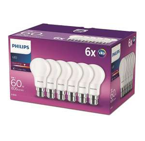Philips LED B22 Frosted Light Bulbs, 8 W (60 W) - Warm White, Pack of 6 - £10.29 (Prime) / £14.78 (non Prime) Amazon
