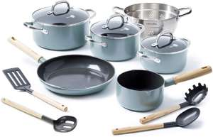 GreenPan MayFlower 13-Piece Nonstick Cookware Set, Healthy Ceramic, Metal Utensil/Induction/OvenSafe, Blue for £50.70 delivered @ Amazon