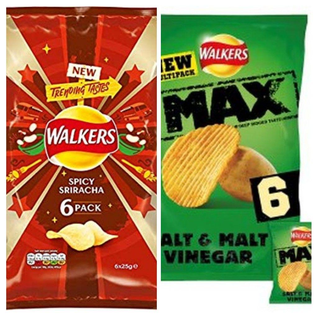 Walkers Max Salt & Vinegar | Walkers Spicy Sriracha Potato Chips 6 packs - 79p each @ Heron Foods Bury
