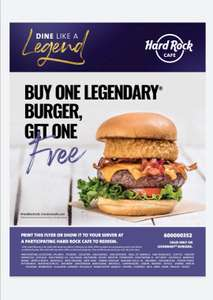 BOGOF burger at Hard Rock Cafe all this February